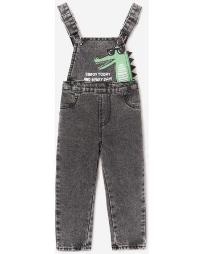 Синий джинсовый комбинезон эластичный на пуговицах Gloria Jeans