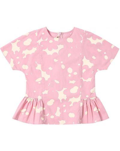 Różowa koszula krótki rękaw bawełniana Marni Junior