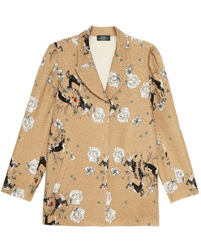 Бежевый однобортный удлиненный пиджак с воротником с карманами Alena Akhmadullina