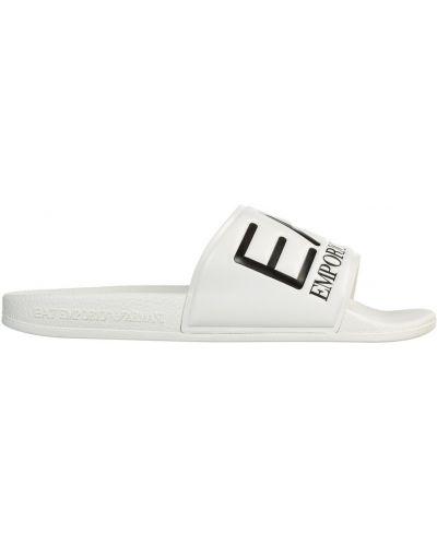 Białe sandały srebrne na niskim obcasie Emporio Armani Ea7