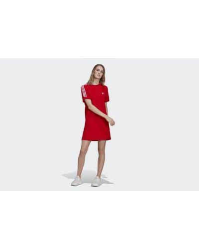 Sukienka mini bawełniana - czerwona Adidas