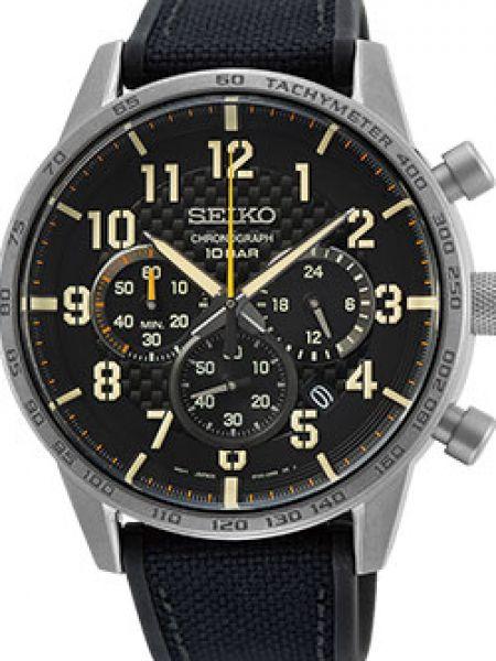 Со стрелками спортивные черные часы механические круглые Seiko