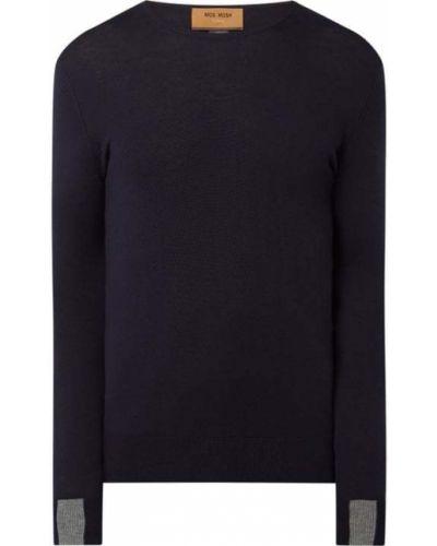Prążkowany niebieski sweter wełniany Mos Mosh