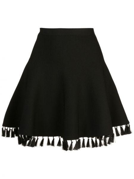 Черная приталенная пышная юбка с кисточками Cinq À Sept
