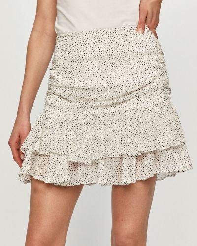 Biała spódnica mini z falbanami materiałowa Guess