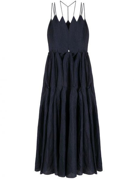 Темно-синее платье макси на бретелях с V-образным вырезом без рукавов Litkovskaya