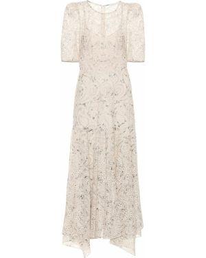 Платье макси шифоновое бежевое Veronica Beard