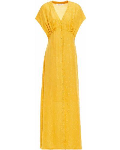 Облегченное желтое шелковое платье миди SamsØe Φ SamsØe