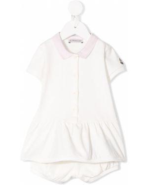 С рукавами хлопковые белые короткие шорты Moncler Kids