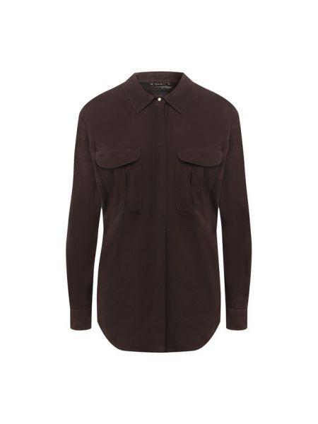 Кожаная коричневая рубашка Giorgio Armani