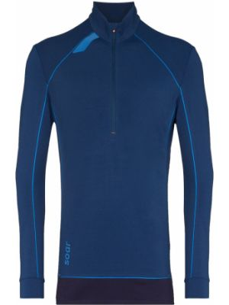 С рукавами синяя приталенная спортивная толстовка на молнии Soar