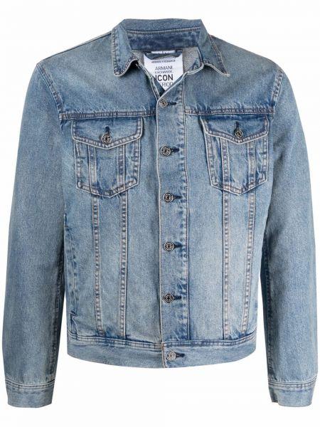 Синяя джинсовая куртка с воротником с карманами Armani Exchange
