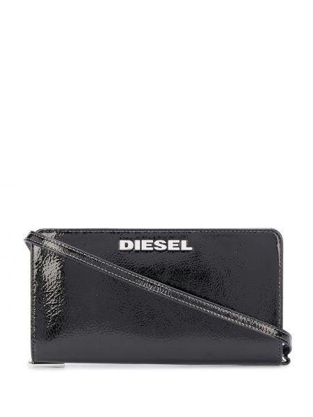 Czarny portfel srebrny Diesel