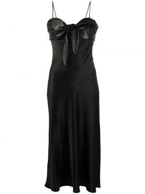 Черное тонкое платье миди на бретелях с вырезом Matériel