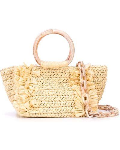 Коралловая соломенная сумка на цепочке круглая Carolina Santo Domingo