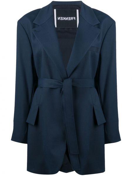 Синее шерстяное пальто оверсайз на пуговицах Frenken