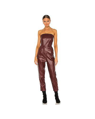 Кожаный комбинезон с карманами с декольте Kendall + Kylie