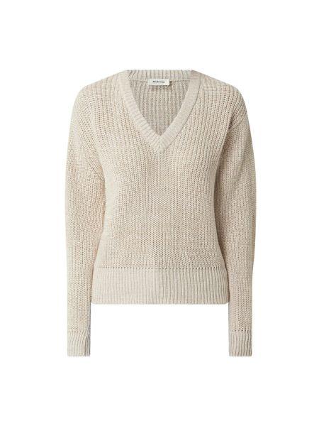 Sweter z dekoltem w serek - beżowy Modström
