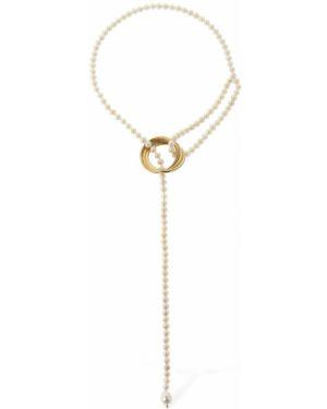 Złoty naszyjnik perły pozłacany Magda Butrym