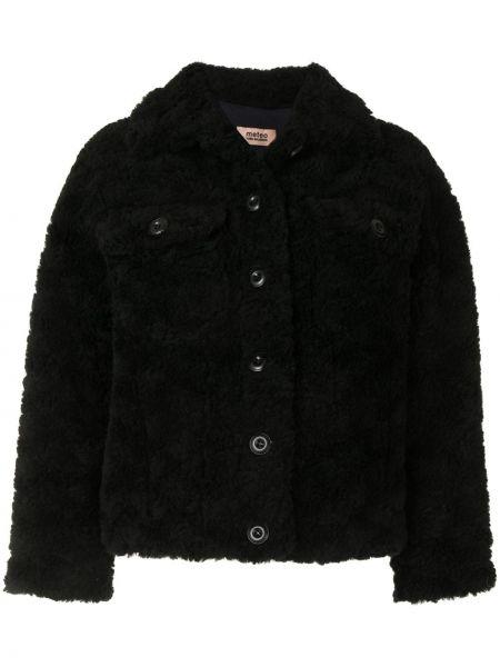 Шерстяное черное пальто классическое с воротником Yves Salomon Meteo