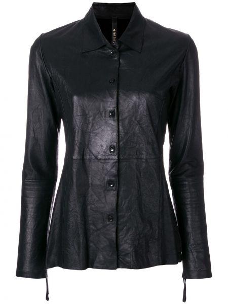 Классическая прямая черная кожаная куртка на пуговицах Olsthoorn Vanderwilt