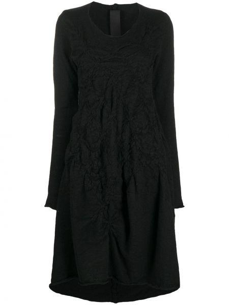 Шерстяное с рукавами черное платье миди Rundholz