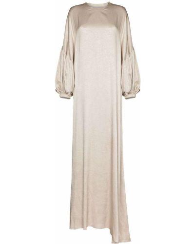 Beżowa sukienka długa asymetryczna z długimi rękawami Sandra Mansour