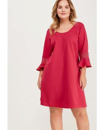 Розовое платье с длинными рукавами Junarose