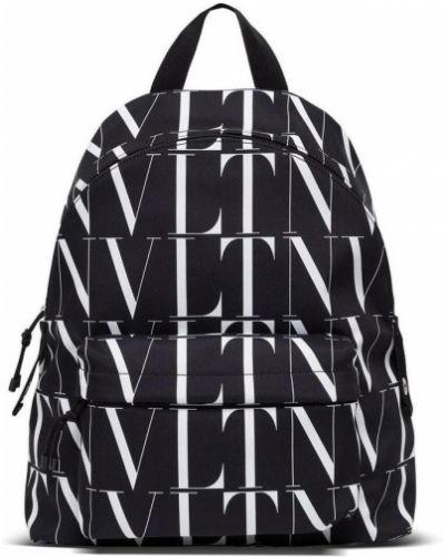 Czarny plecak sportowy w paski na co dzień Valentino
