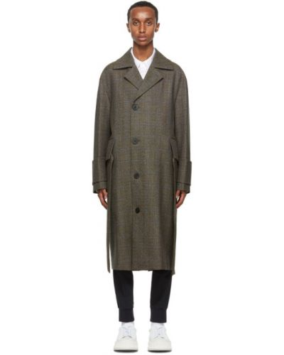 Шерстяное длинное пальто с поясом с воротником на пуговицах Wooyoungmi