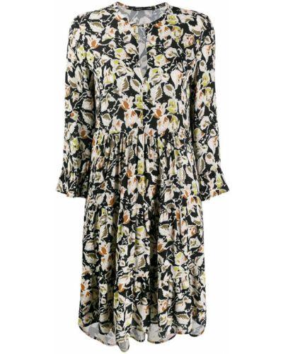 Платье миди в цветочный принт - черное Luisa Cerano