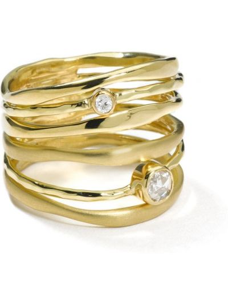 Золотистое кольцо золотое с бриллиантом Ippolita