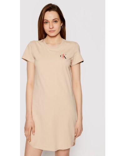 Beżowa koszula nocna Calvin Klein Underwear