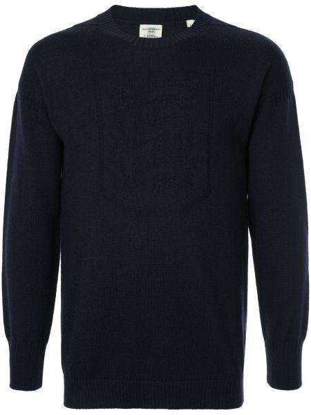 Niebieski sweter wełniany z długimi rękawami Kent & Curwen