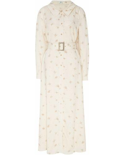 Бежевое с рукавами платье макси с поясом Laroom