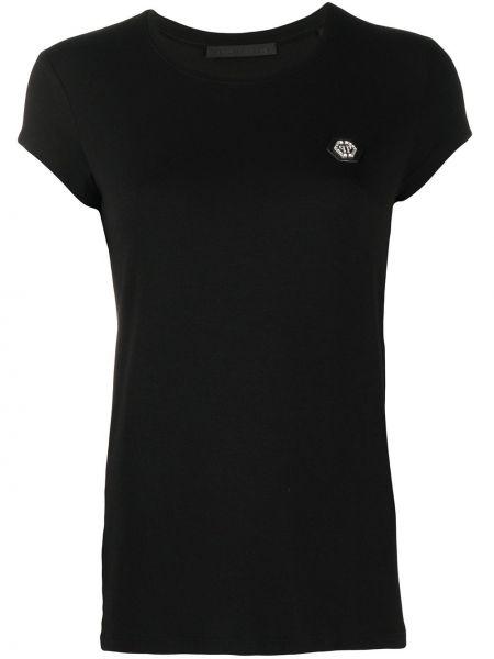 Прямая черная футболка с нашивками с круглым вырезом Philipp Plein