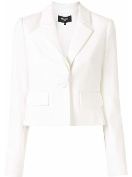 Белый удлиненный пиджак для полных с карманами Paule Ka