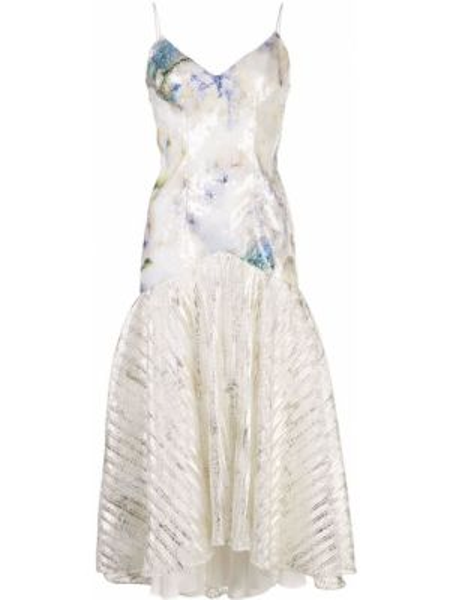 Biała sukienka midi rozkloszowana z haftem Rodarte