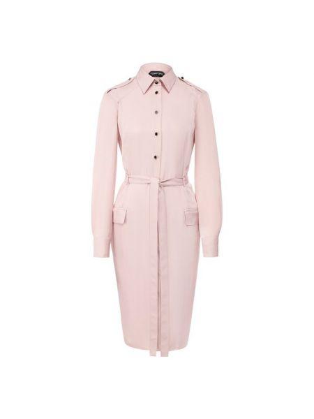 Платье с поясом розовое платье-рубашка Tom Ford