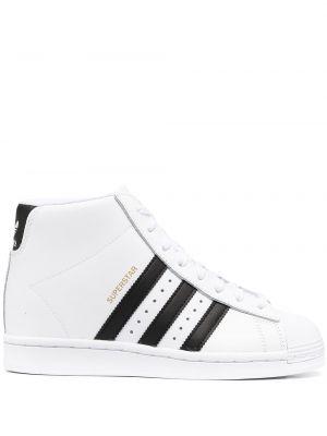 Włókienniczy biały top zasznurować z paskami Adidas