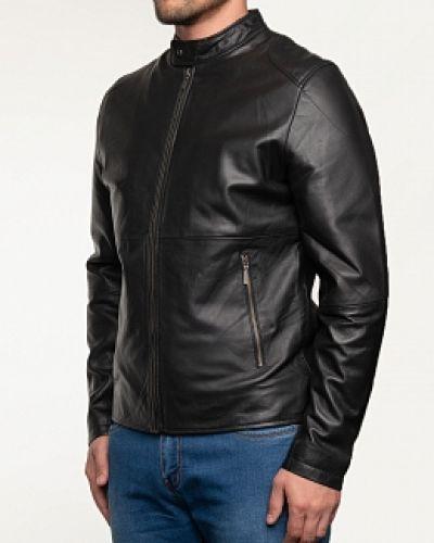 Черная кожаная куртка с воротником каляев