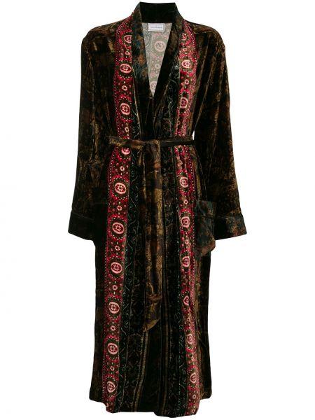 Бархатное прямое длинное пальто с поясом Pierre-louis Mascia
