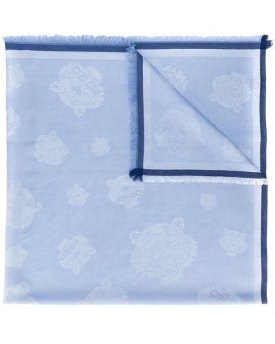 Синий платок с бахромой Kenzo