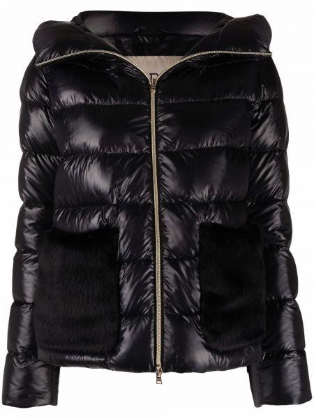 Черное длинное пальто с капюшоном из искусственного меха Herno