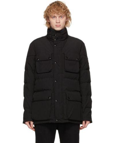 Puchaty czarny długa kurtka z mankietami z haftem Belstaff