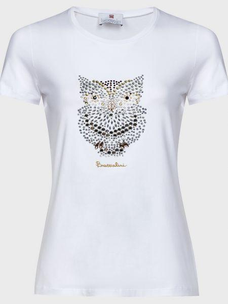 Хлопковая белая футбольная футболка с камнями Braccialini