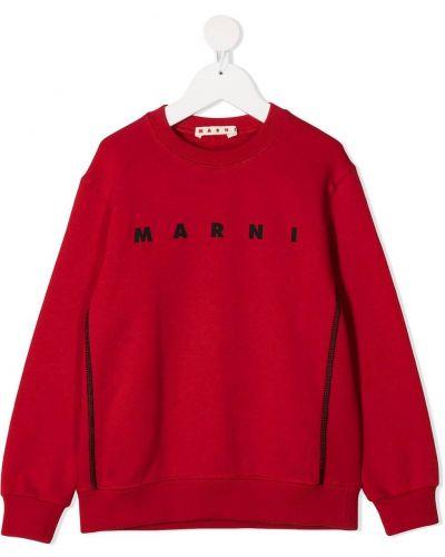Прямой хлопковый с рукавами красный свитшот Marni Kids