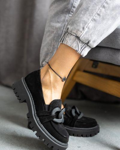 Замшевые туфли - черные Olli