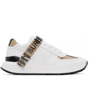 Skórzane sneakersy białe z logo Burberry