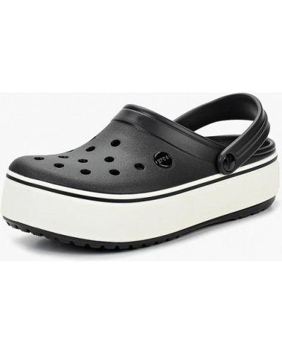 Сабо черные на каблуке Crocs